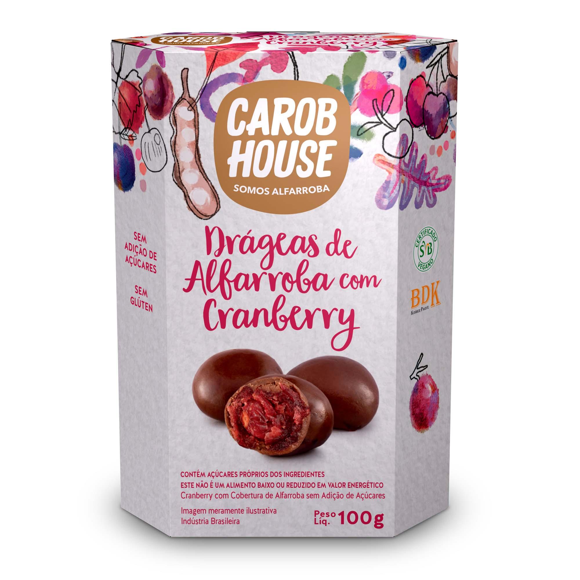 Drágeas de Alfarroba com Cranberry Sem Açúcar 72g - Carob House