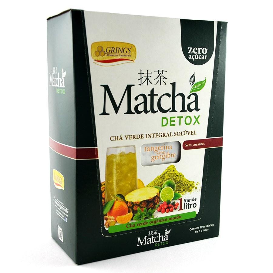 Matcha Detox Orgânico Integral Tangerina com Gengibre 12 x 7g -  Grings