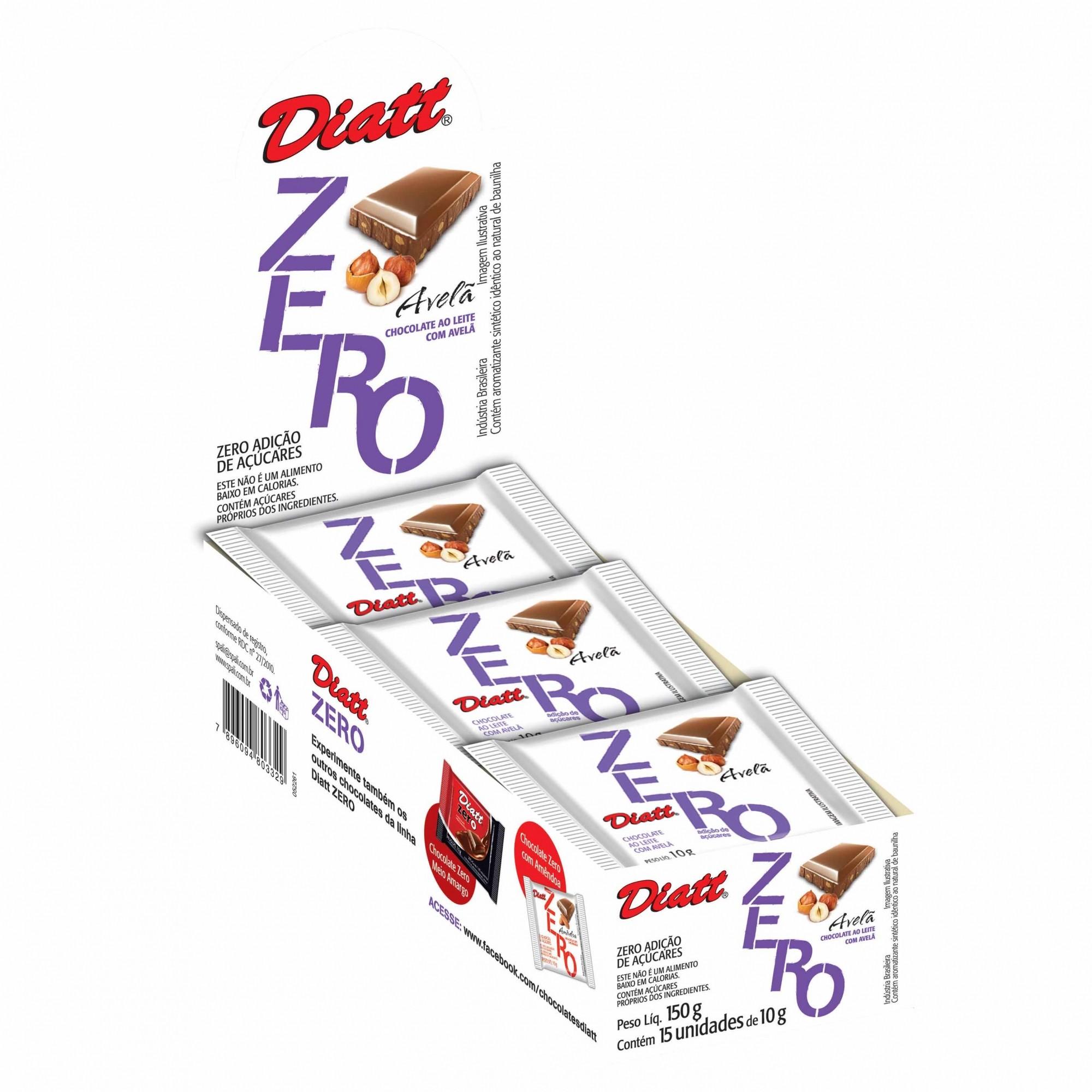 Tablete Zero Açúcar Avelã 10g x 15 - Diatt