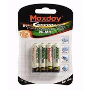 Cartela com 4 pilhas palito Recarregável AAA Maxday
