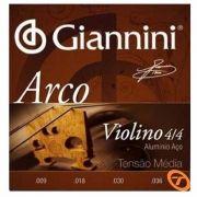 Encordoamento Para Violino Geavva 4/4 Aço Médio 27566 Giannini