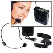 Megafone Amplificador Voz Microfone Professor Radio FM USB MP3 Fone Ouvido Aula Palestra