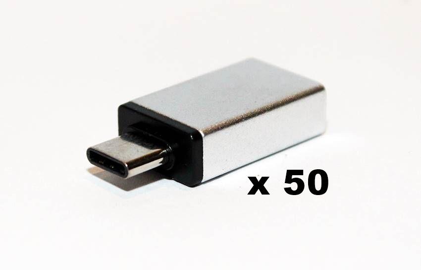 50 peças Adaptador Otg Usb Tipo C Macho Para Usb 3.0 Fêmea