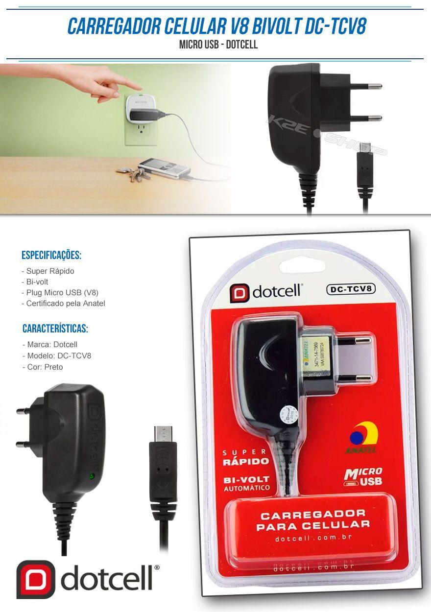 Carregador Dotcell de celular Micro USB - carregador de viagem
