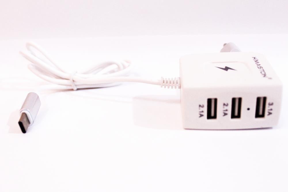 Carregador Original H'maston TIPO C Com 3 Usb 3.1 A