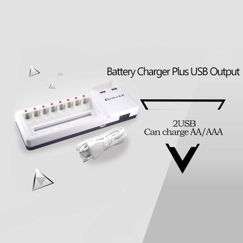 Carregador para 8 pilhas bivolt com 2 saídas USB