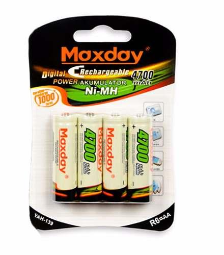 Cartela com 4 pilhas AA Recarregável Maxday