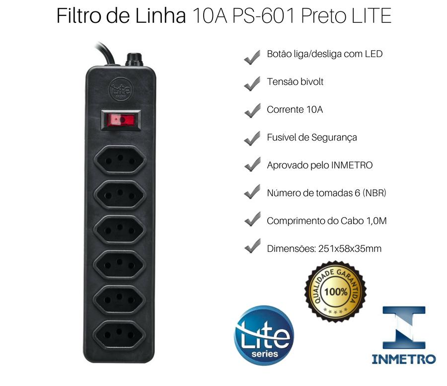 Filtro de Linha 10A PS-601 Preto LITE