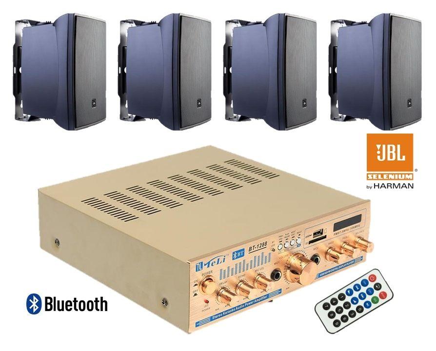 Kit de som ambiente 4 caixas JBL amplificador com Bluetooth kit-D4