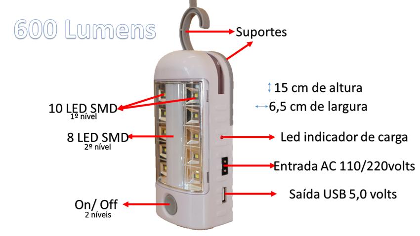 Luminária de Emergência 18 Leds SMD bivolt com placa solar