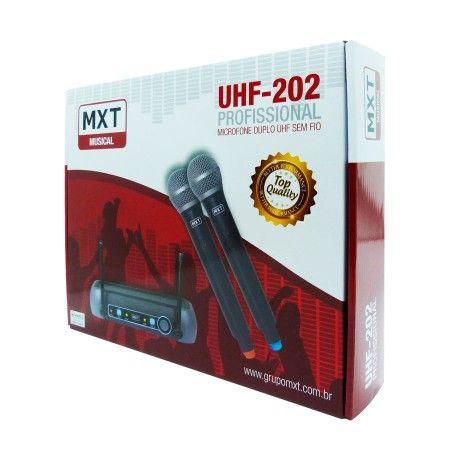 Microfone Sem Fio Duplo profissional Mxt Uhf 202