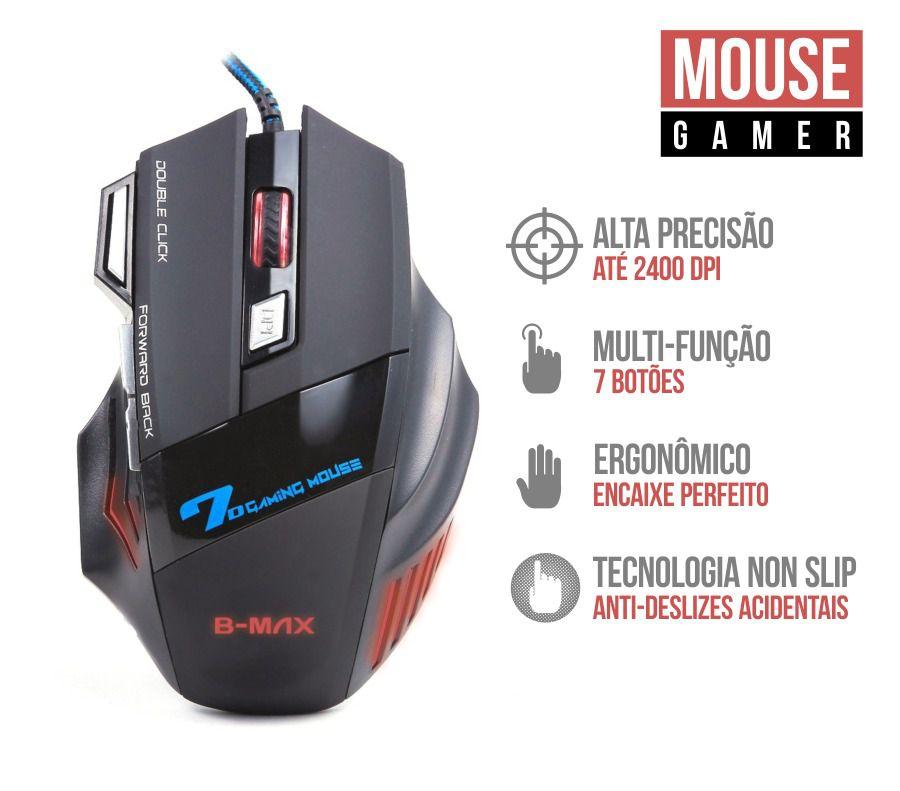 Mouse Gamer 2400 Dpi 7 Botões Profissional B-max X7 Gaming