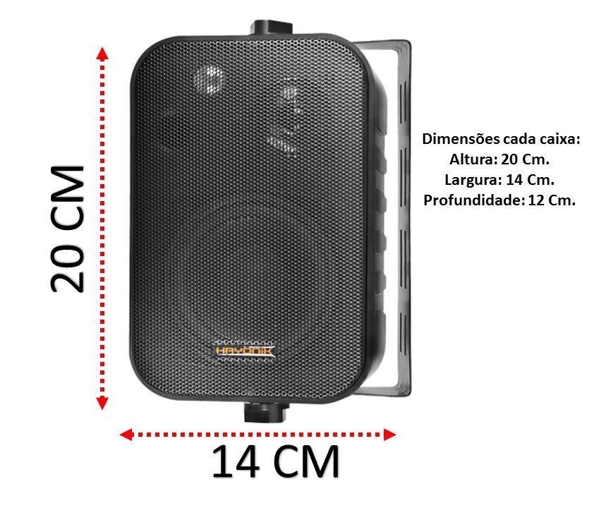 Par de Caixa Acústica Som Ambiente 60W 3 vias Preta HAYONIK