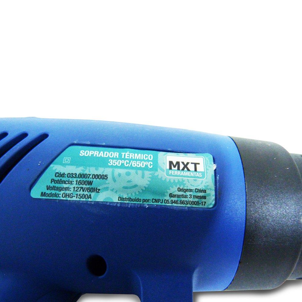 Soprador Térmico de Ar Quente MXT - Ajuste De Temperatura 350° ~ 650° - 1600w - Maleta para transporte com acessórios - 110v