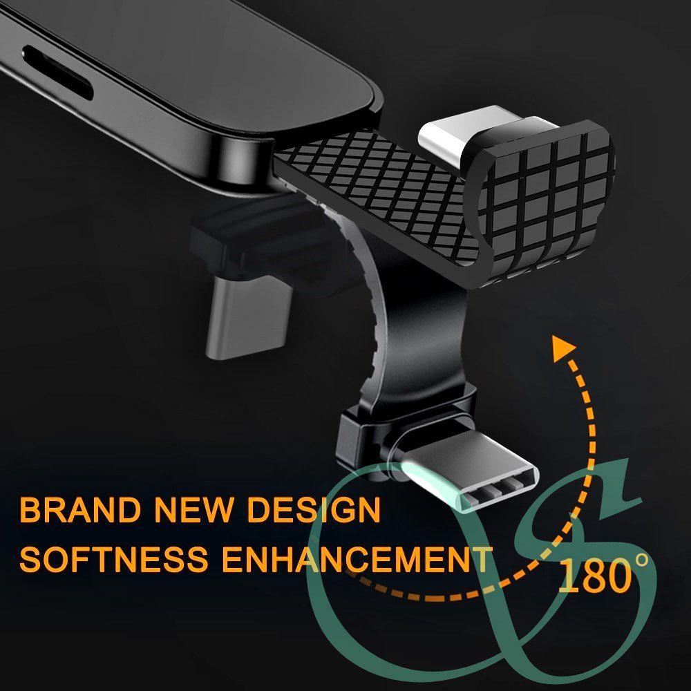 Adaptador para fone e carga com suporte anel para celulares tipo C