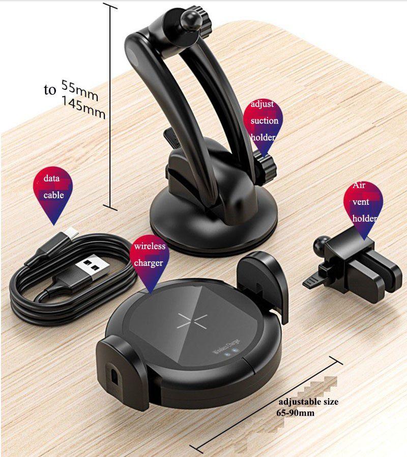Suporte veicular com carregador wirelles Qi abertura e fechamento automático