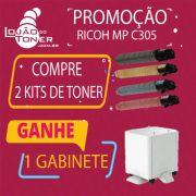 2 - Kit de Toner Ricoh MPC 305 CYMK - Ganhe 1 Gabinete Grátis Ricoh MP C305