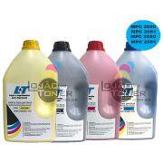 Refil de Toner Ricoh MPC 2030/2050/2050/2550/2551 - Kit com as 4 cores - 1 kg cada cor