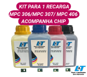 REFIL DE TONER RICOH MPC 306 / MPC 307/ MPC 406 - KIT PARA 1 RECARGA (COM CHIP)
