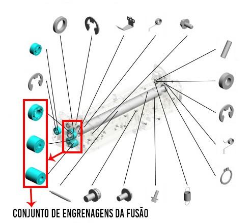 Conjunto de Engrenagens da Fusão Ricoh MPC 2003|MPC 2503|MPC 3003|MPC 3503|MPC 4503|MPC 5503|MPC 6003 - Compatível