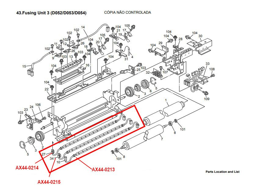 Conjunto de Lâmpada da Fusão para Ricoh Aficio 2051 |2060  |2075 |Ricoh MP 5500|MP 6000|MP 6001|MP 6500|MP 7000|MP 7001|MP 7500|MP 8000|MP 8001 (AX440215 | AX440213 | AX440214)