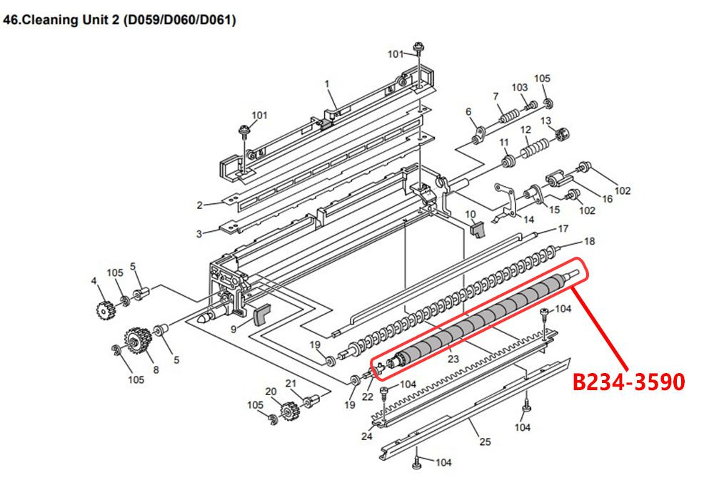 Escova de Limpeza Ricoh MP9000|MP 1100|MP 1350 - B234-3590 - Original