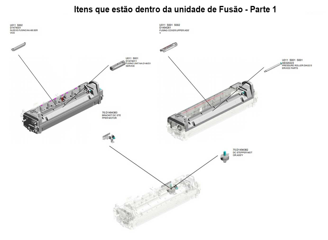 Fusão Completa Ricoh MPC 3003|Ricoh MPC 3503 - D1464061|D1464019|D1464016|D1464013|D1464009|D1474011 - Original