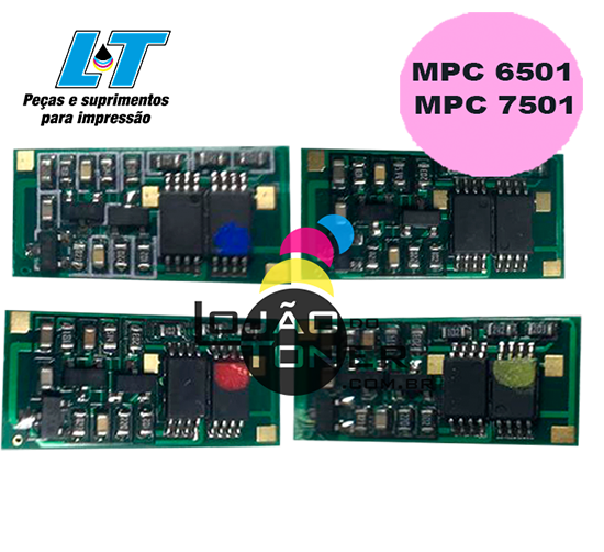 Kit de Chip para Toner  Ricoh MPC 6501|Ricoh MPC 7501 - 4 Cores