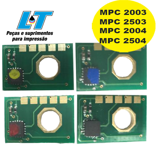 Kit de Chip Ricoh MPC 2003/ MPC 2503/ MPC 2004/ MPC 2504 - Kit com as 4 Cores