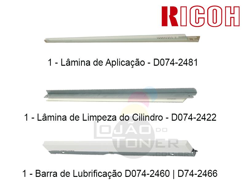 Kit Lâmina de Aplicação, Lâmina de Limpeza do Cilindro e Barra de Lubrificação Ricoh Pro C 651 | Ricoh Pro C 751 (D0742481|D0742422| D0742460 / D0742466)