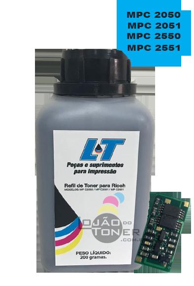 Kit para Recarga com Refil de Toner  e Chip Ricoh Ricoh MPC 2030/2050/2050/2550/2551 - Black