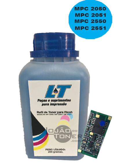 Kit para Recarga com Refil de Toner  e Chip Ricoh Ricoh MPC 2030/2050/2050/2550/2551 - Cyan