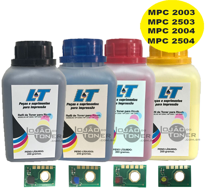 Refil de Toner e Chip para Ricoh MP C2003/ 2503/ 2004/ 2504 - Kit com as 4 cores - 200 Gramas cada cor