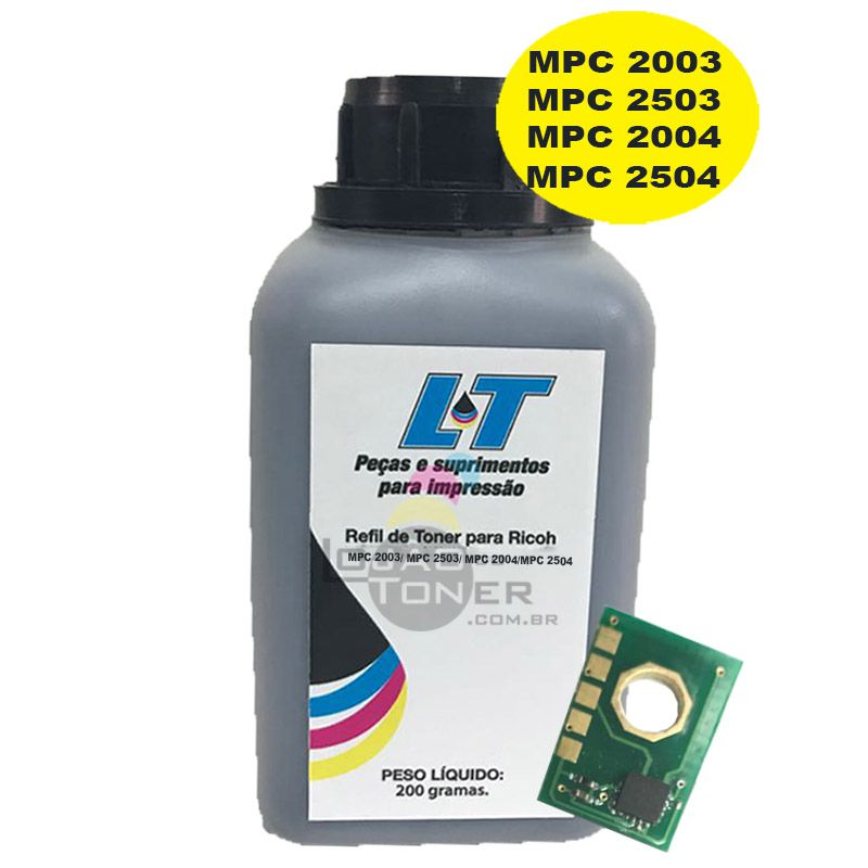 Refil de Toner e Chip para Ricoh MPC 2003/ MPC 2503/ MPC 2004/ MPC 2504 - Black 200 Gramas