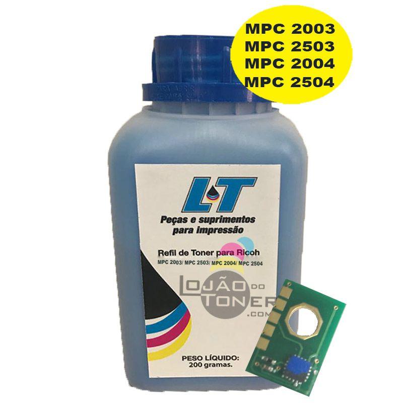 Refil de Toner e Chip para Ricoh MPC 2003/ MPC 2503/ MPC 2004/ MPC 2504 - Cyan 200 Gramas