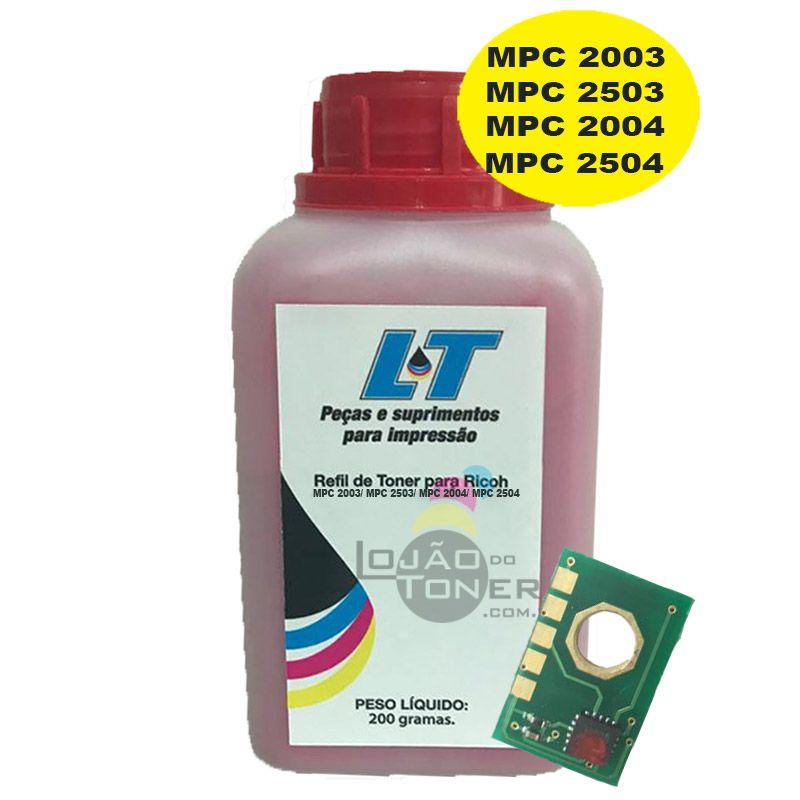 Refil de Toner e Chip para Ricoh MPC 2003/ MPC 2503/ MPC 2004/ MPC 2504 - Magenta 200 Gramas