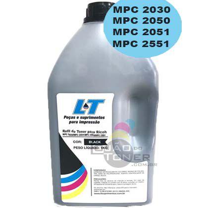 Refil de Toner  Ricoh MPC 2030|MPC  2050|MPC 2051|MPC 2550|MPC 2551-  Cor Black 1Kg