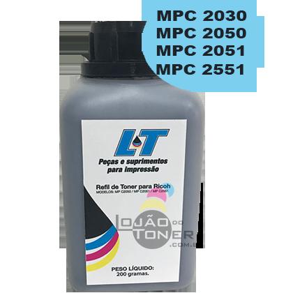 Refil de Toner  Ricoh MPC 2030|MPC 2050|MPC 2051|MPC 2550|MPC 2551-  Cor Black 200 Gramas