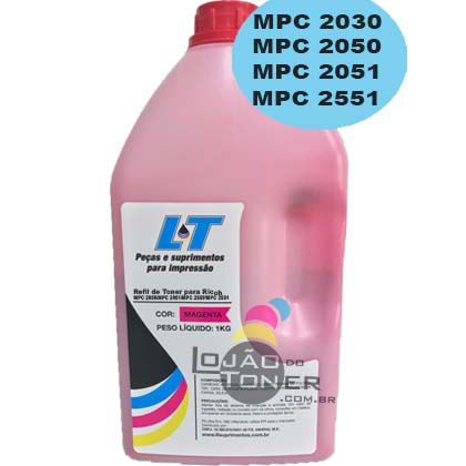 Refil de Toner  Ricoh MPC 2030/ MPC 2050/ MPC 2051/MPC 2550/ MPC 2551-  Cor Magenta 1Kg
