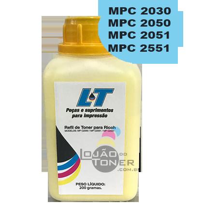 Refil de Toner  Ricoh MPC 2030|MPC 2050|MPC 2051|MPC 2550|MPC 2551-  Cor Yellow 200 Gramas