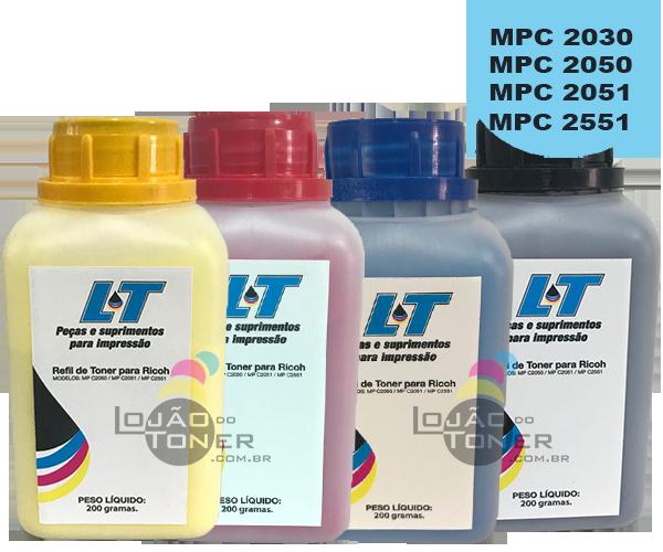 Refil de Toner  Ricoh MPC 2030/ MPC 2050/ MPC 2051/MPC 2550/MPC 2551-  Kit com as 4 Cores - 200 Gramas cada
