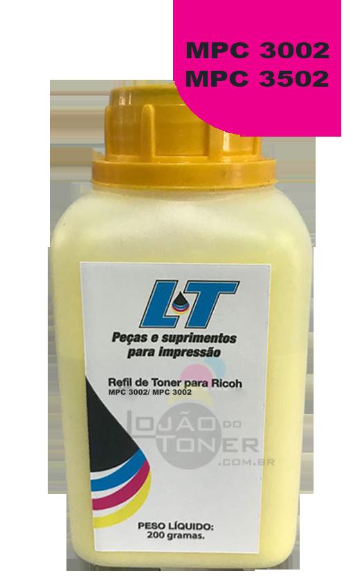 Refil de Toner Ricoh MP C3002 / MPC 3502 - Cor Yellow 200 Gramas
