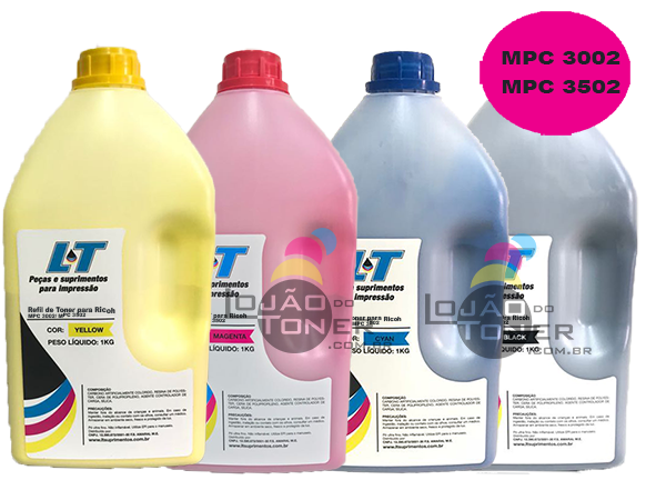 Refil de Toner Ricoh MP C3002 / MPC 3502 - Kit com as 4 cores - 1 Kg cada cor