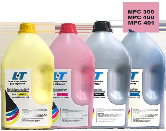 Refil de Toner Ricoh  MPC 300/ MPC 400/MPC 401 - Kit com as 4 cores - 1 kg cada cor