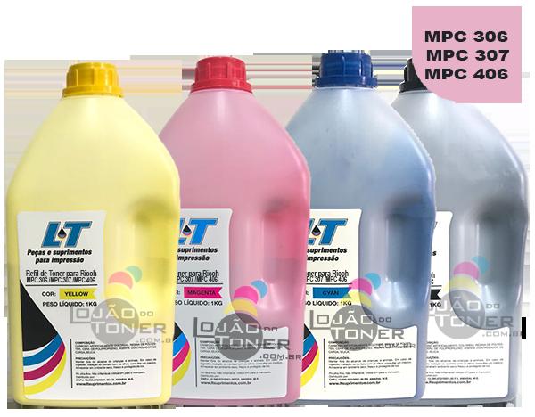 Refil de Toner  Ricoh MPC 306/ MPC 307/ MPC 406 - Kit com as 4 cores - 1 Kg cada cor