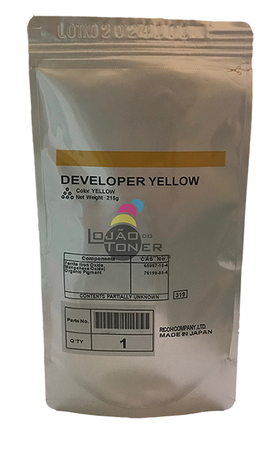 Revelador Ricoh MPC 2050|MPC 2550|MPC 2051|MPC 2551 cor Yellow Original Ricoh