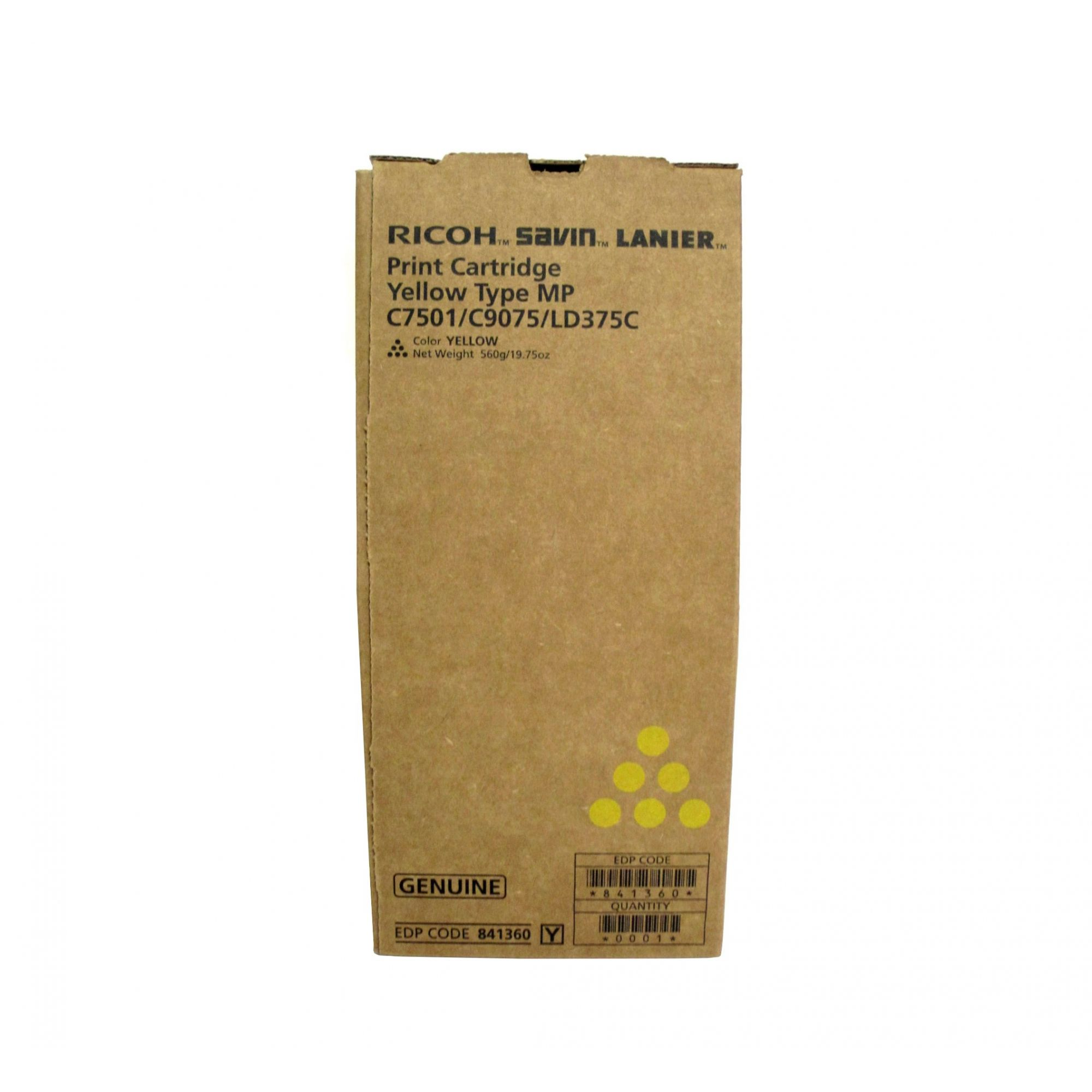 Toner Ricoh MPC 6501/ Ricoh MPC 7501 - Yellow - Original (841360)