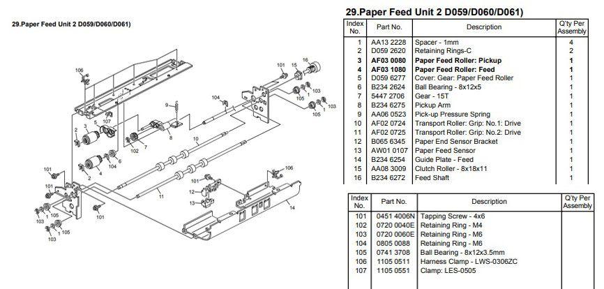 Unidade de Alimentação de Papel Ricoh Pro 1107 | Pro 1357 |Pro 907 |MP 1350| MP 9000 |MP 1100 ( D0596200 | D0596201 ) Original