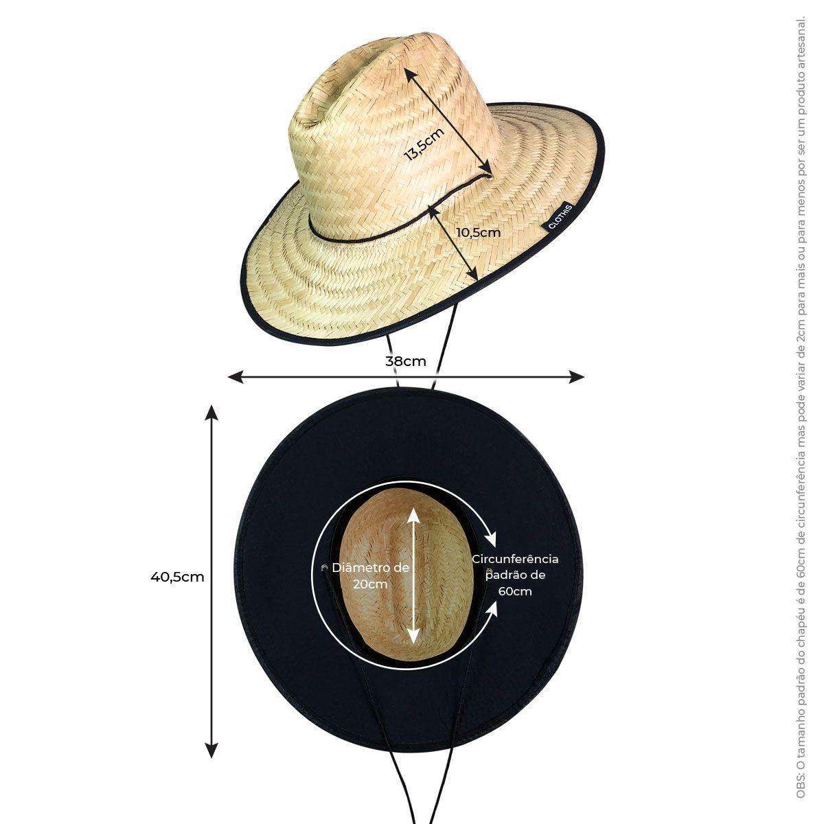Chapéu de Palha Forro Preto