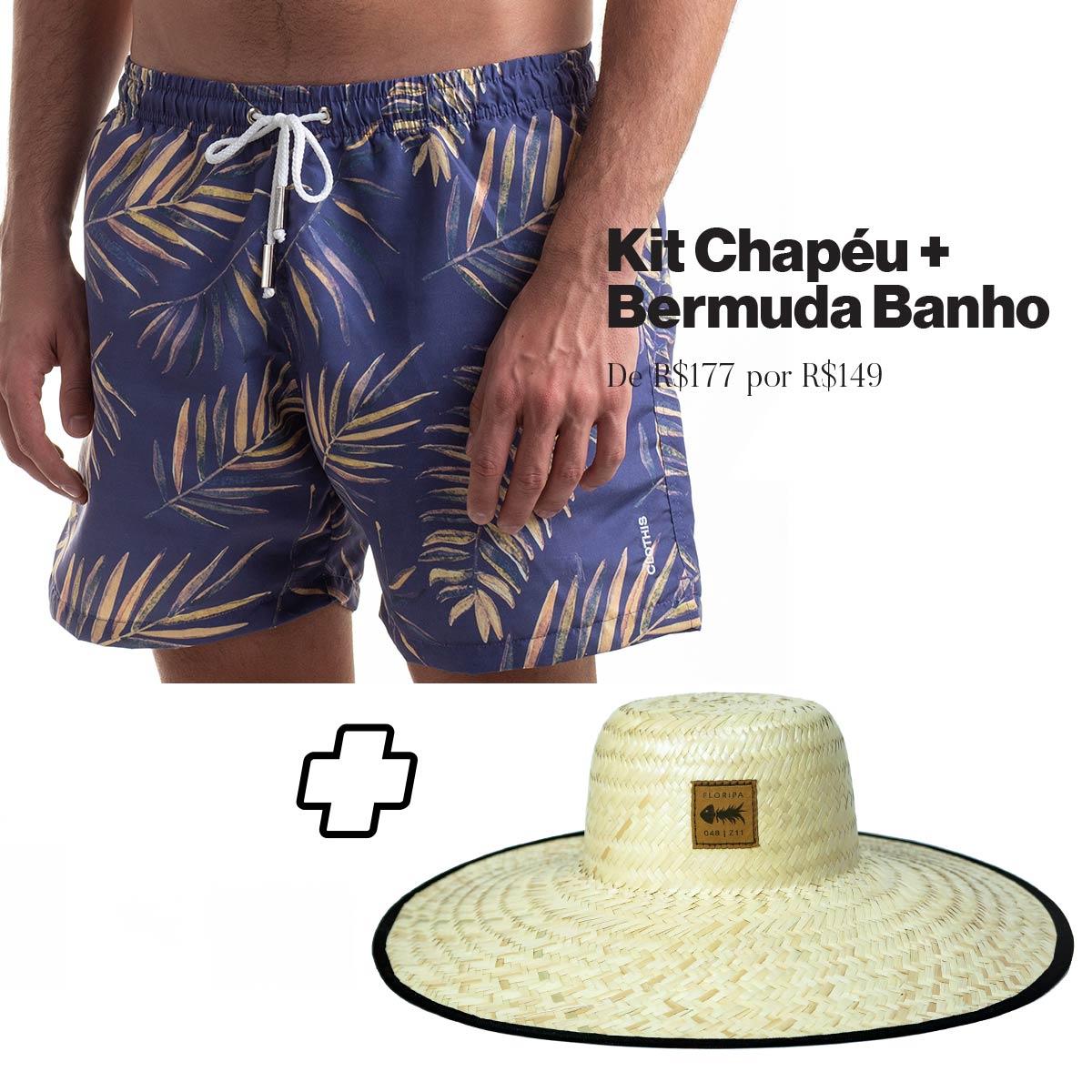 Kit Short Jurerê + Chapéu de Palha Surf